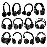 Headphone Silhouettes Set Stock Photography