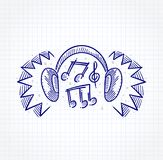 Headphone simulating loud sound. Sketch of Headphone simulating loud sound with musical notes inside Stock Photography