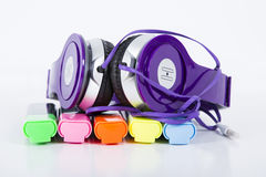 Headphone and sketch pen Royalty Free Stock Image