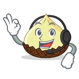 With headphone snake fruit mascot cartoon. Vector illustration Stock Images