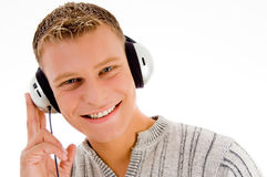 headphone som ser mannen dig Royaltyfri Fotografi
