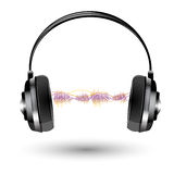 Headphone with sound wave Stock Photos