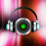 Headphone with speaker  on  abstract  background Stock Photography