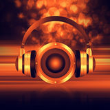 Headphone with speaker  on  abstract  background Royalty Free Stock Images