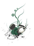 Headphone with Swirls. Headphone illustration with grunge elements Royalty Free Stock Photos