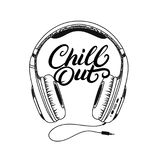 Headphone tee print. Chill out hand written lettering. Stock Photos