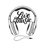Headphone tee print. Live music hand written lettering. Royalty Free Stock Images