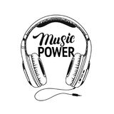 Headphone tee print. Music power hand written lettering. Royalty Free Stock Images