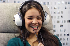 Headphone woman Stock Photo