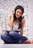 Headphone woman Stock Images