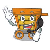 With headphone wooden trolley mascot cartoon. Vector illustration stock illustration
