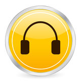 Headphone yellow circle icon Royalty Free Stock Photo