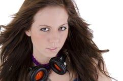 headphonekvinnabarn Arkivfoto