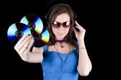 headphonekvinnabarn Royaltyfri Bild