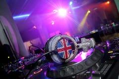 Headphones. And  DJ mixer. Lighten in nightclub Royalty Free Stock Photography