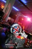Headphones. And  DJ mixer. Lighten in nightclub Stock Photo