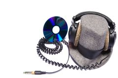 Headphones. Isolated headphones with grey hat Royalty Free Stock Photos