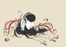 Headphones. Illustration of a woman listening to music Royalty Free Stock Image