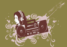 Headphones. Illustration of a woman listening to music Stock Photo
