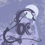 Headphones. Color illustration with headphones and the moon vector illustration