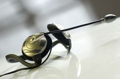 Headphones. Modern headphones with microphone close up shoot Stock Photo