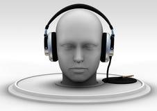 Headphones. Computer generated head with headphones Royalty Free Stock Image