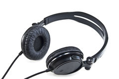Headphones. Black headphones on white background Royalty Free Stock Photo