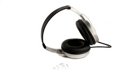 Headphones. And musical notes on white Royalty Free Stock Photo