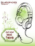 Headphones. Conected to text frame, good for party flyer, poster and so om - vector Stock Image