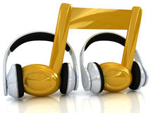 Headphones and 3d note Royalty Free Stock Photo