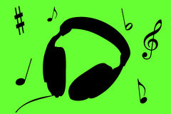 Headphones. Illustration of headphones with music symbols Stock Illustration