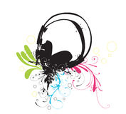 Headphones. Illustration of headphones and decorative patterns Stock Image