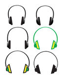 Headphones. 6 headphones Royalty Free Stock Image
