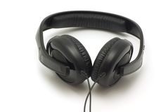 Headphones. Black Monitor Stereo Headphones. Isolated on white Royalty Free Stock Photo
