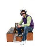 Headphones. Isolation on white, speakers, headphones, eyeglass and urban dj Stock Photos