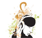 Headphones. Illustration of a woman listening to music Royalty Free Stock Images