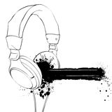 Headphones. On a white background with blots Royalty Free Stock Images