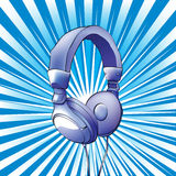 Headphones. On a blue background Royalty Free Stock Images