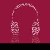 Headphones. Abstract headphones on purple background Stock Images