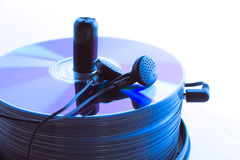 Free Headphones And A Stack Of Compact Discs Stock Photo - 21417820