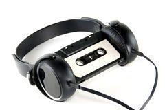 Headphones with audio cassette Stock Image