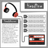 Headphones and audiocassette. Infographics Stock Photo