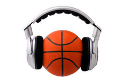 Headphones on a basketball ball Stock Images