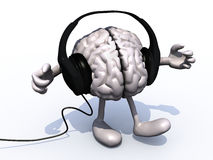 Headphones on a big brain with arms and legs Stock Photos