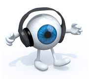 Headphones on a big eyeball with arms and legs Stock Photo