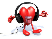 Headphones on a big heart. Pair of headphones on a big heart with arms, legs and open mouth Royalty Free Stock Photos