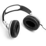 Headphones black isolated white background Stock Image