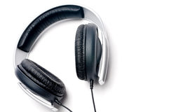 Headphones with black learther padding Royalty Free Stock Photography