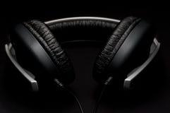 Headphones with black leather padding Royalty Free Stock Photo