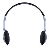 Headphones. Black and silver headphones isolated on white Royalty Free Stock Photos